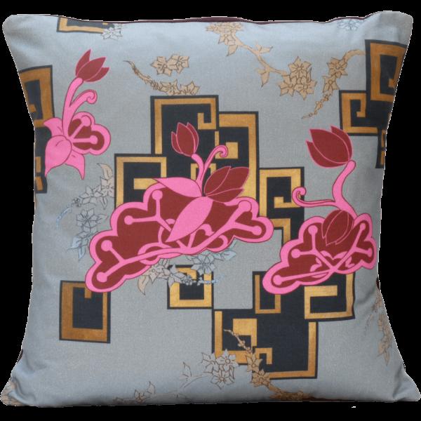 Chinoiserie Neon Cushion - Pink / Silver Cloud