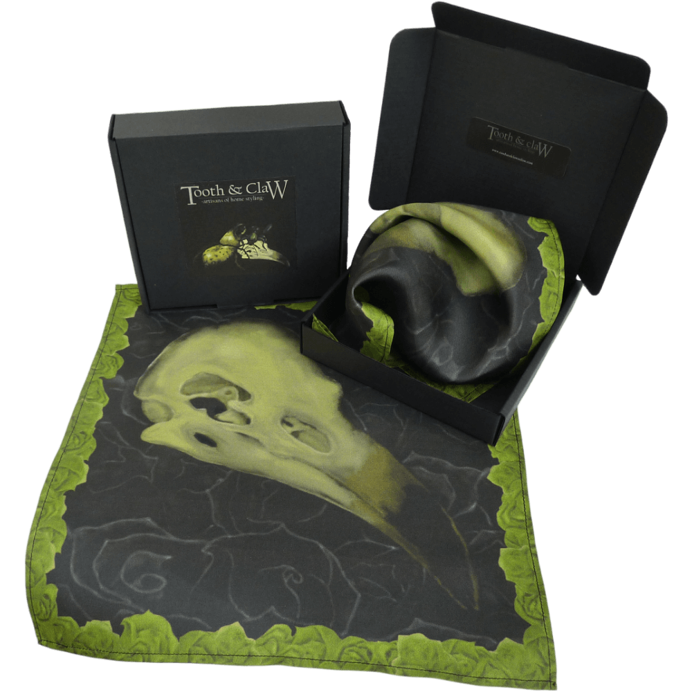 Alas Poor Birdy Silk Pocket Square-Green/Balck