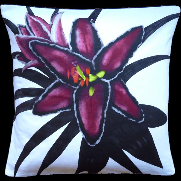 Night Flowers Lily cushion - Blanc White