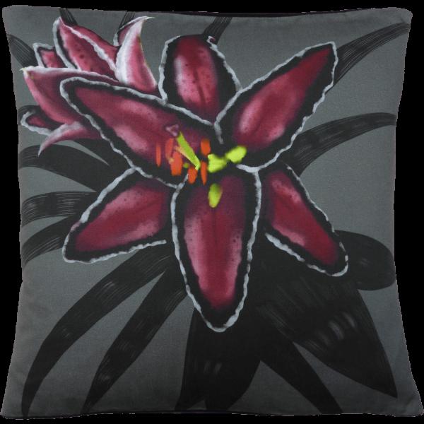 Night Flowers Lily cushion - Grey