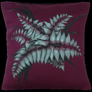 Night Flowers Fern cushion - Claret