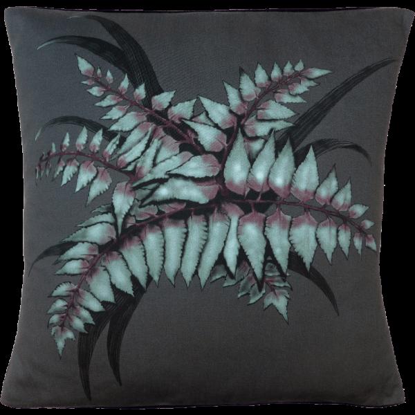 Night Flowers Fern cushion - Grey