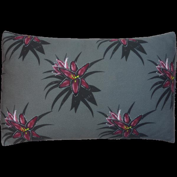 Night Flowers Lily Cushion Boudoir size - Grey