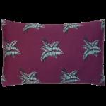 Night Flowers Fern Cushion Boudoir size - Claret