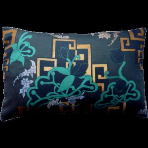 Chinoiserie Neon Cushion Boudoir Size ~ Green / Storm Grey