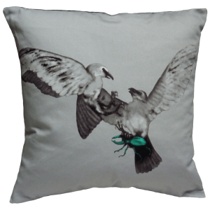 Birds and The Beetles 2 Cushion ~ Teal