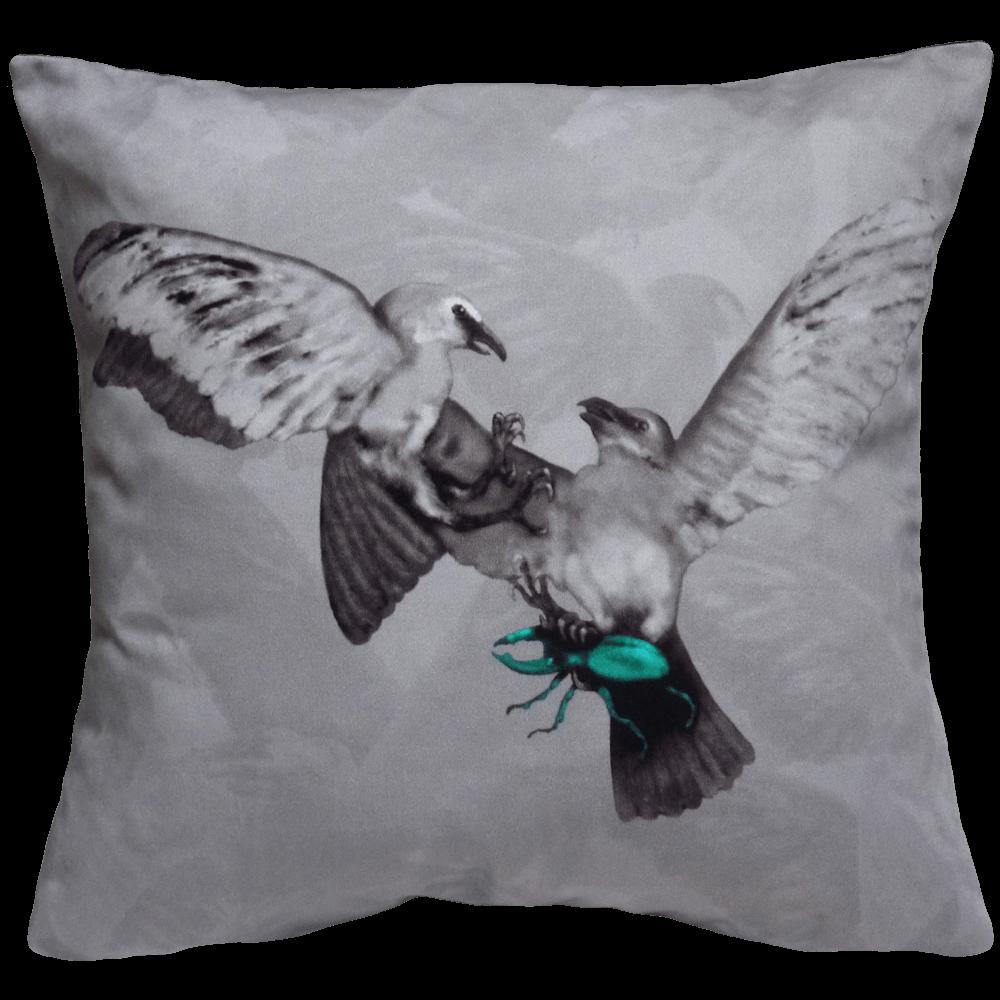 Hitchcock Birds Cushion - Grey / Teal