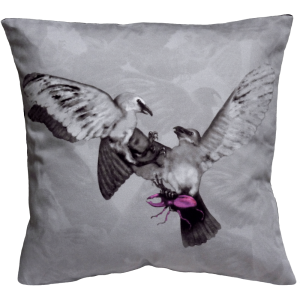 Hitchcock Birds Cushion - Grey/ Fuschia
