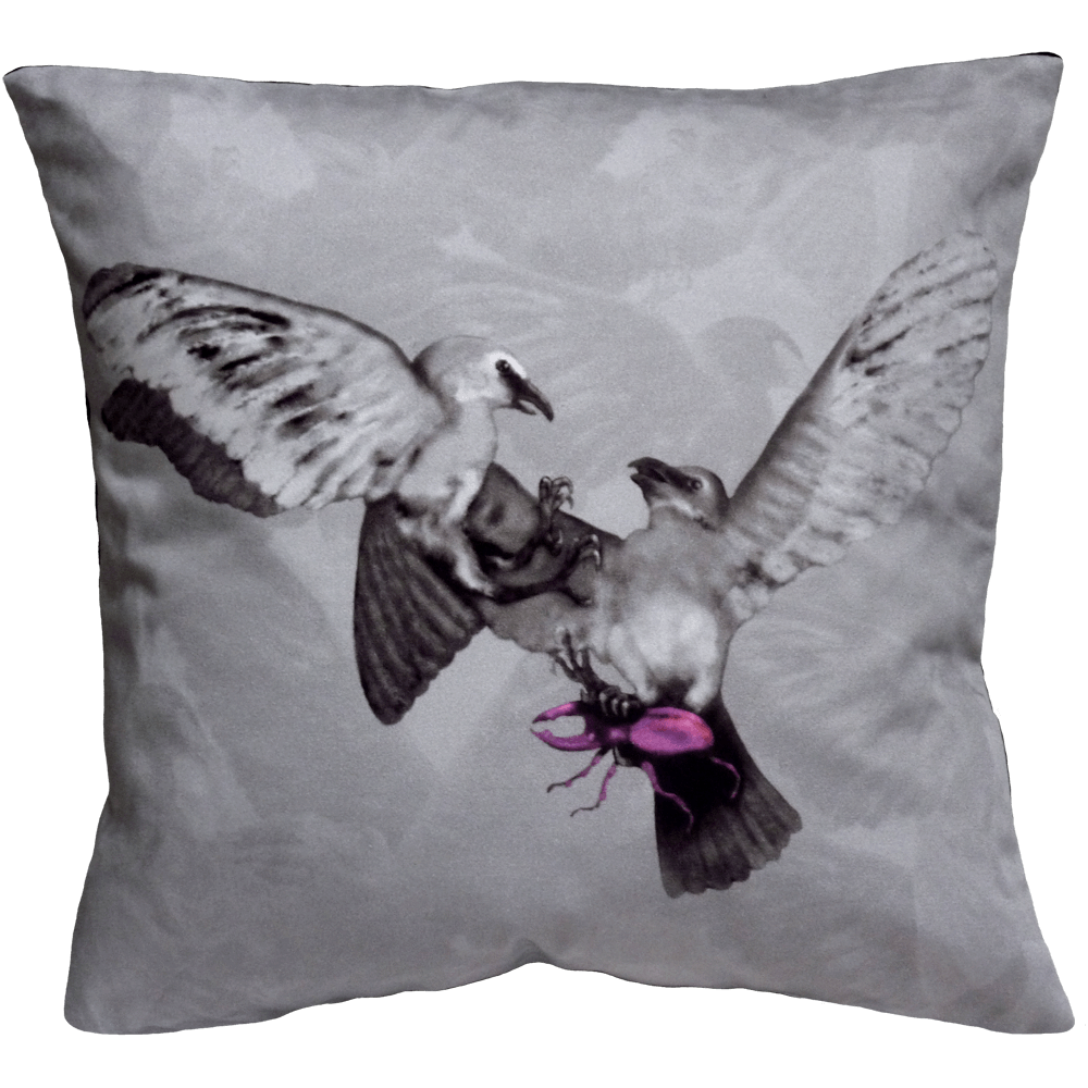 Hitchcock Birds Cushion - Grey/ Fuschia