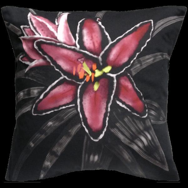 Night Flowers Lily cushion - Noir Black