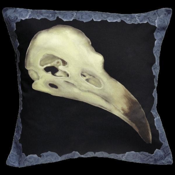 Alas Poor Birdy Cushion In Blue Murder