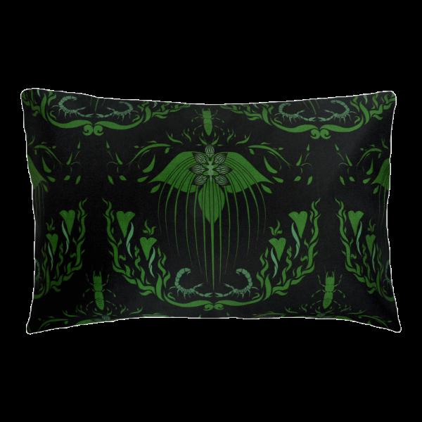 Damask Of Satan Cushion Boudoir Size~ in POISON GREEN