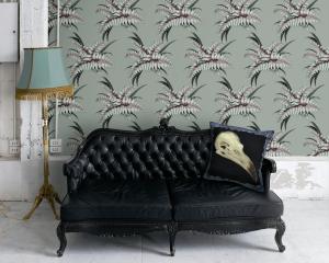 Night Flowers Fern Wallpaper - Grey