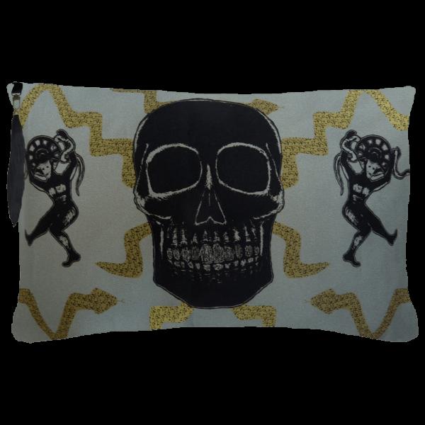 Juju Snake Priest Cushion Boudoir Size - Grey Gold