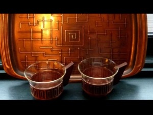 Mid-Century Copper and Glass Coffee set