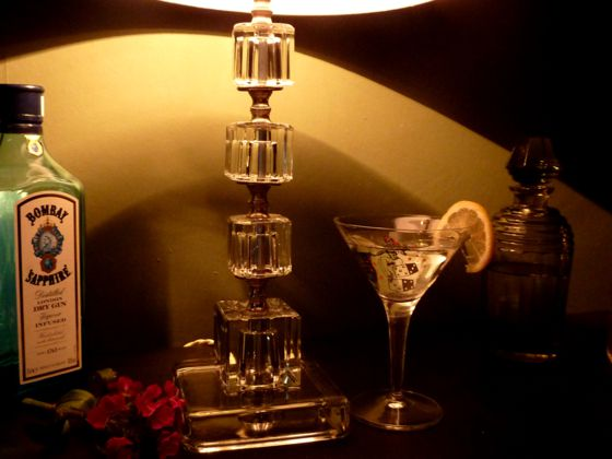 American 1940s Glass Cube Table Lamp