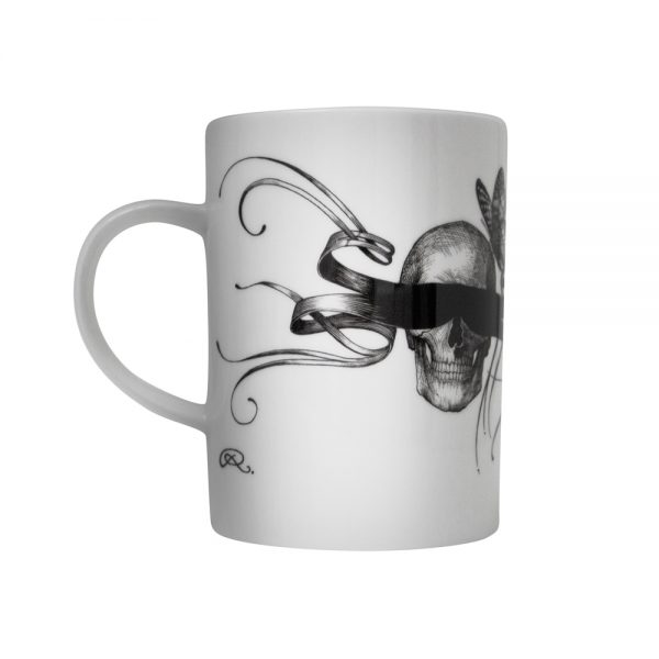 Rory Dobner masked skull mug