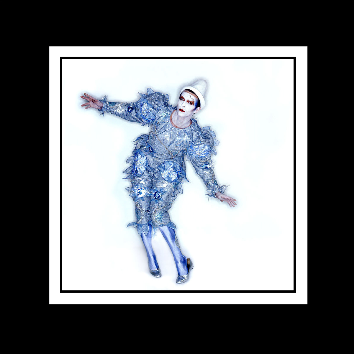 David Bowie Ashes to Ashes clown outfit print