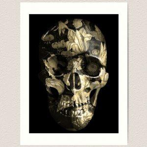 Evil Left Hand Floral Skull Print Pale Gold