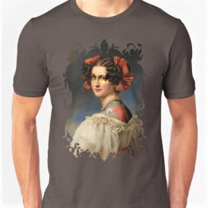 Tattooed-woman-printed-t-shirt-grey
