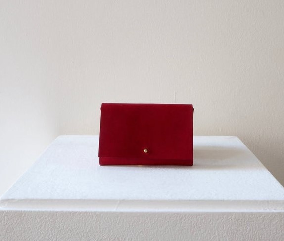 red leather handmade purse