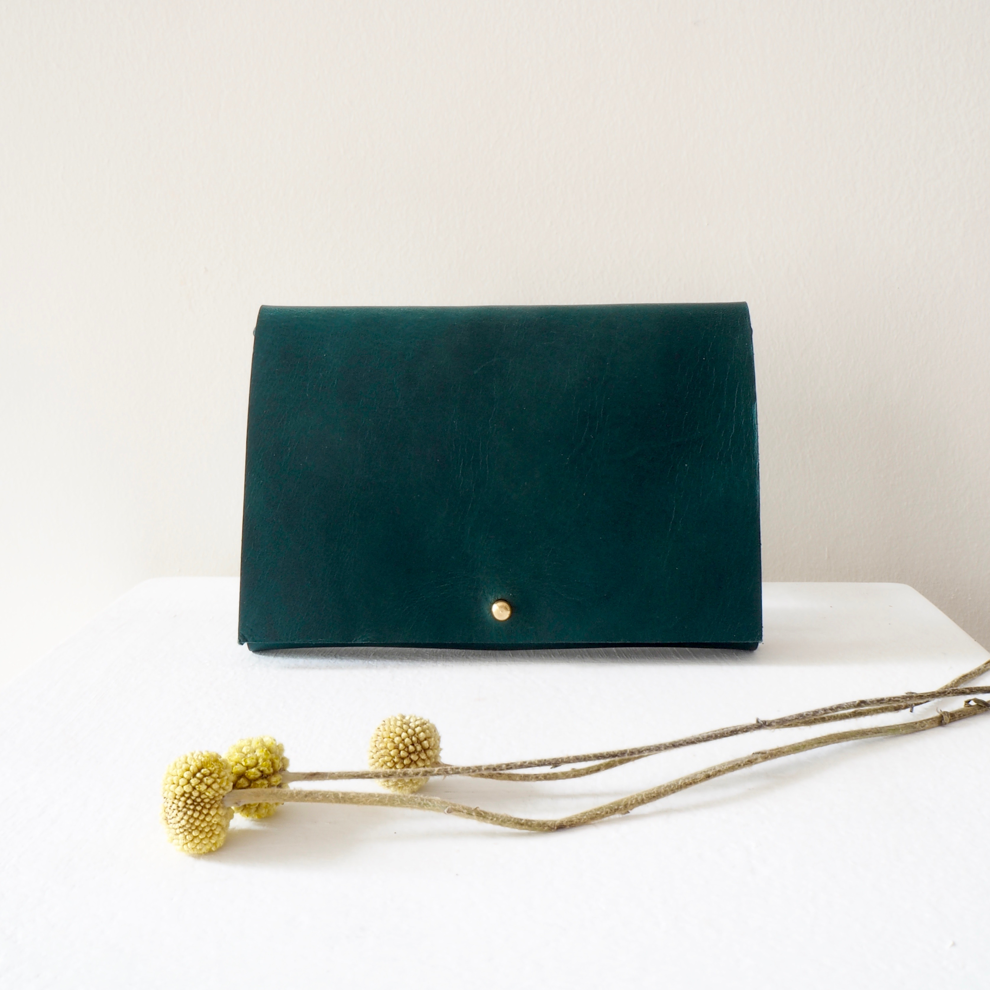 Forest green leather pouch