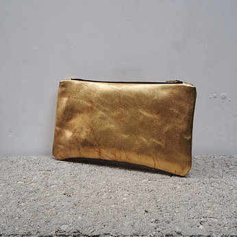 antiqued leather clutch