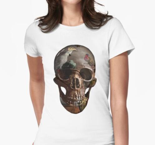 Painted skull birds t-shirt
