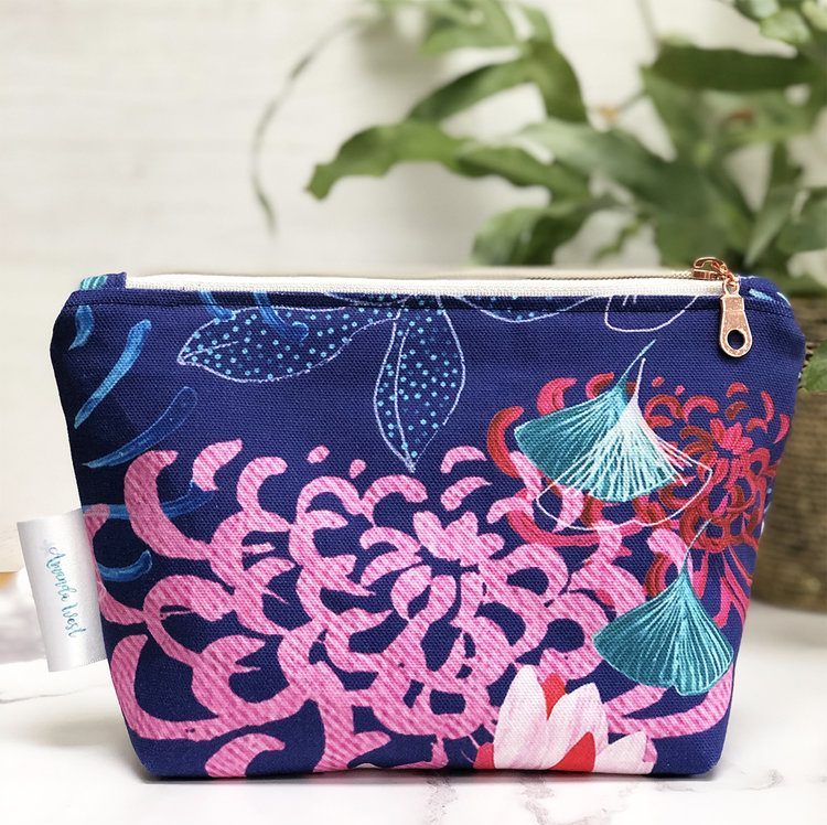 cotton zip pouch make up bag