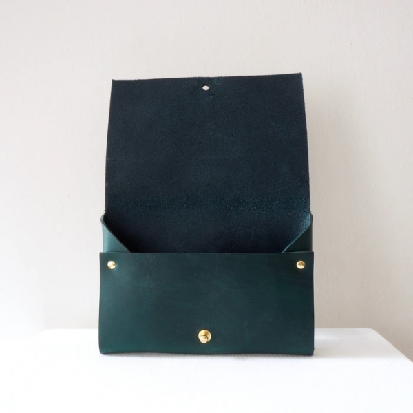 green leather small clutch