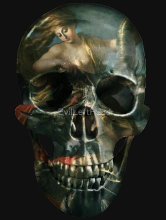 goddess of fortune painted skull design