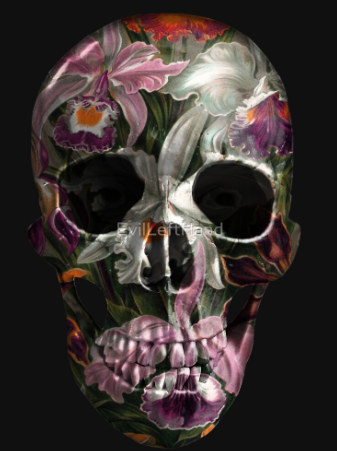evil left hand painted skull exotic florals