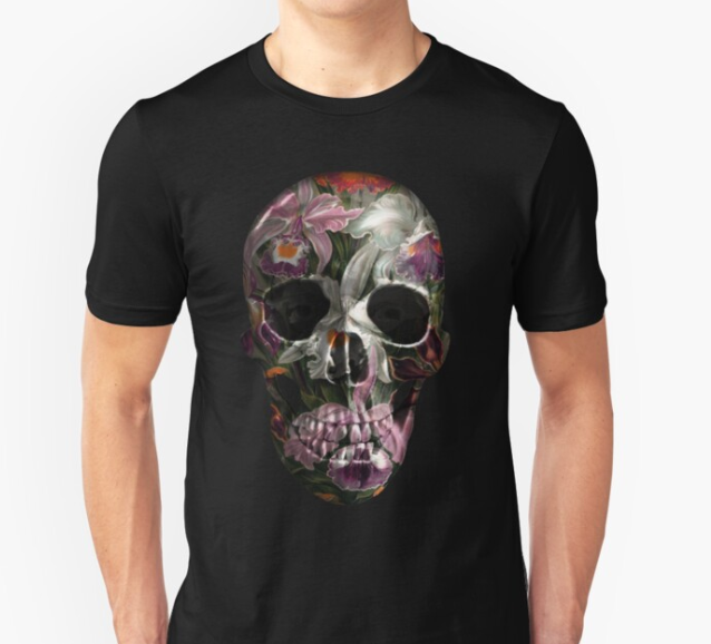exotic floral skull print t shirt