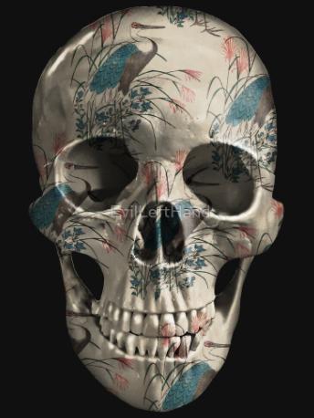 Chinoiserie -herons-painted-skull