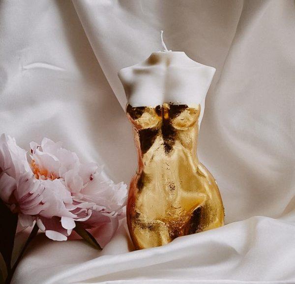 golden ivory goddess candle large