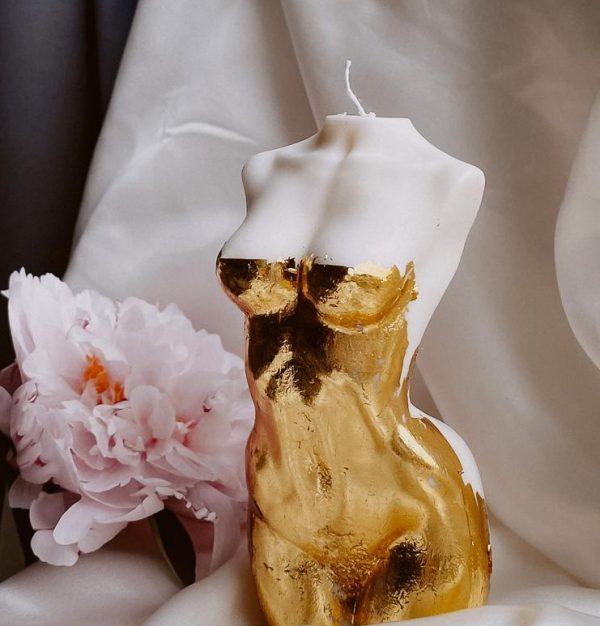 golden ivory goddess candle large 12cm