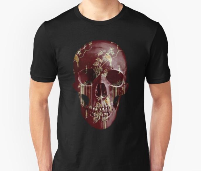 painted-skull unisex t shirt tear garden bordeaux black