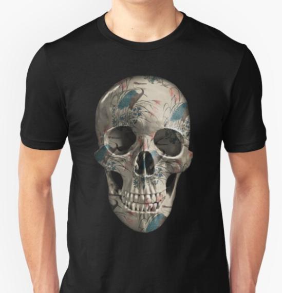 painted-skull-unisex-t-shirt-herons-on-black tee
