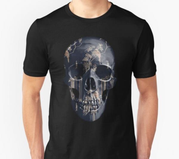 painted-skull-unisex-tshirt-tear-garden-black-gold