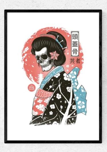 framed yokai geisha print