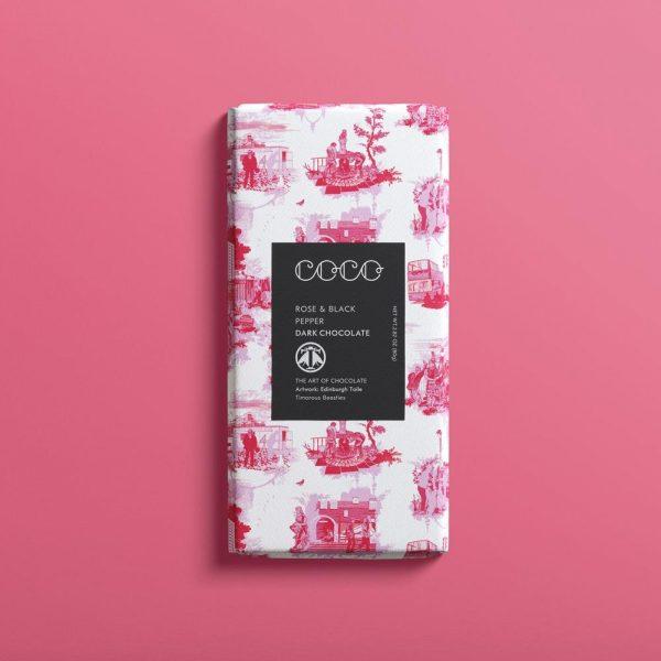 Coco-Chocolatier-Timorous-Beasties-Rose-Black-Pepper-dark-chocolate-bar