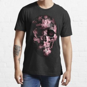Pink Floral paint skull T Shirt