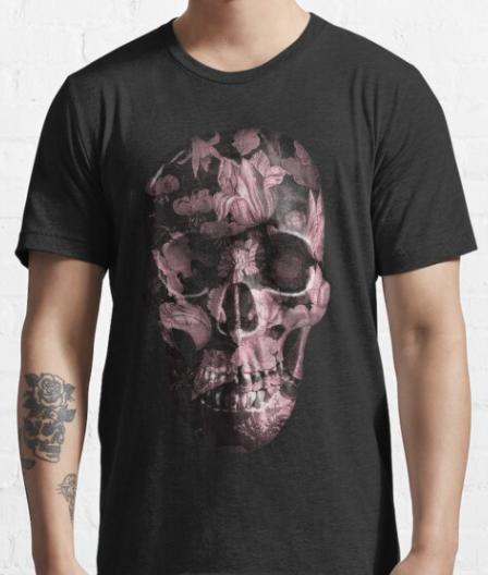 unisex-Painted-floral-skull-tshirt-rose-black