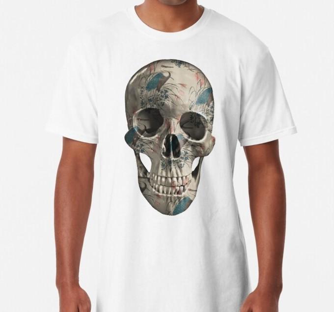 Painted-skull-unisex-t-shirt-herons-white