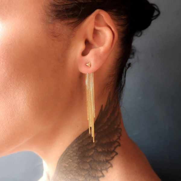 Rocka-Stud-earring-with-long-chainback-gold-vermeil.