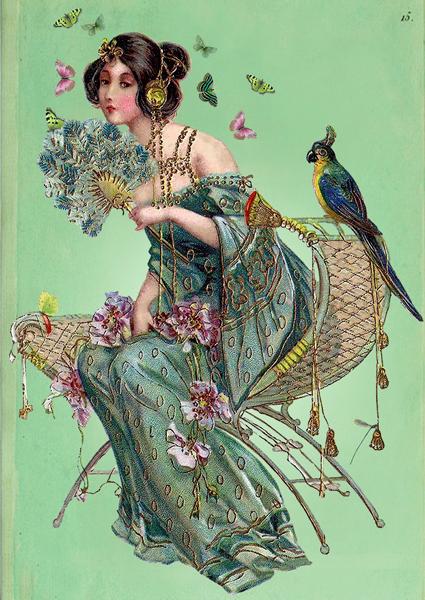 VINTAGE-LADY-FAN-GREETINGS-CARD