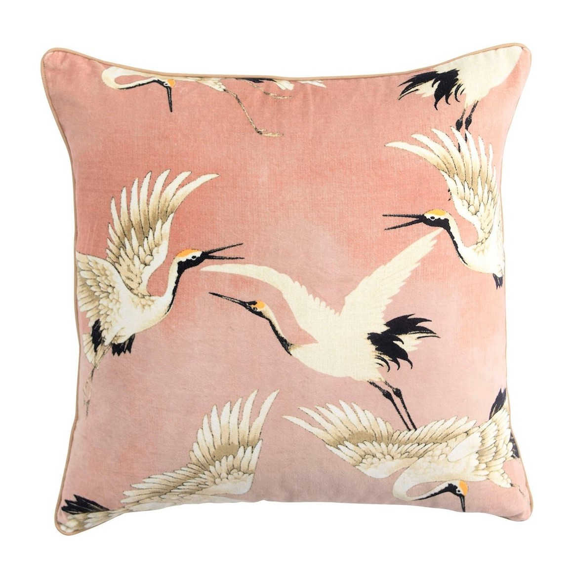 one-hundred-stars-oriental-stork-velvet-cushion-pink