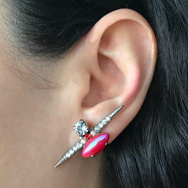 Heiter-jewellery-spike-stone-stud-iridescent-red-pink