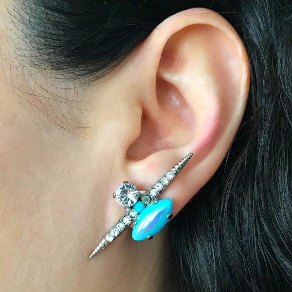 Heiter-jewellery-spike-stone-stud-iridescent-turquoise