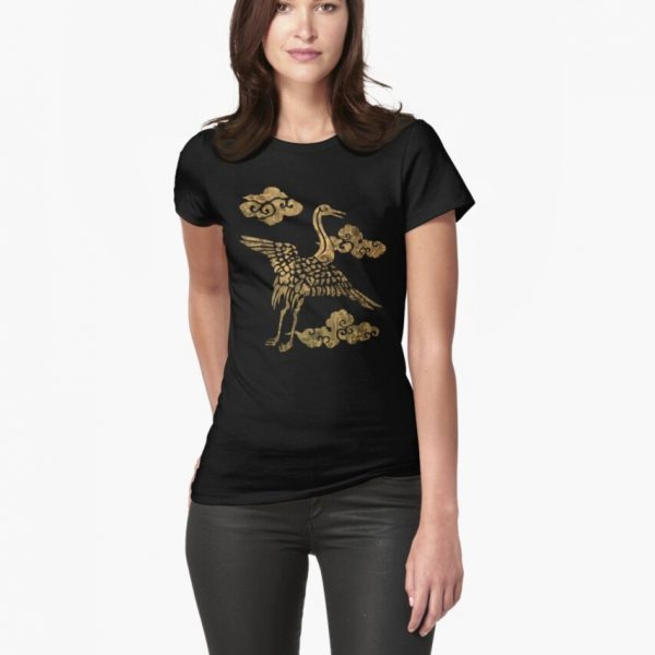 Women's Fitted T-Shirt Japanese Crane Pale Gold